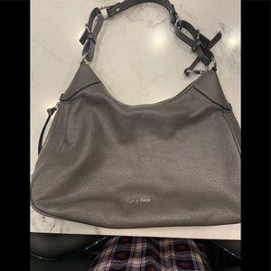 Calvin Klein Gray Leather Shoulder Bag